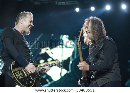 BUDAPEST - MAY 14: Metallica performs on stage at Puskas Ferenc Stadion on May 14, 2010 in Budapest, Hungary. - stock photo