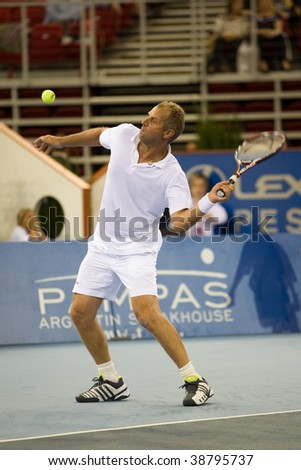 BUDAPEST-OCTOBER 10: Thomas Muster plays  on Tennis Classics 2009 on october 10, 2009 in Hungary