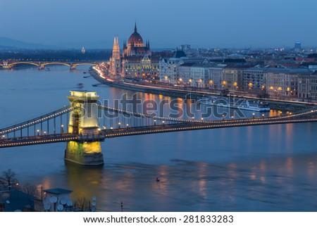 Budapest panorama, Chain Bridge in the background of the Parliament, Hungary