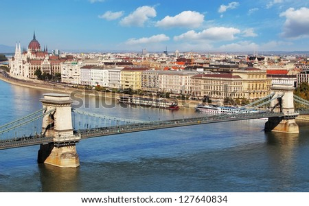Budapest - panorama from castle, Hungary - stock photo