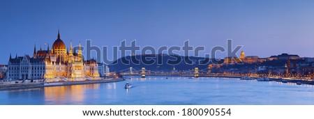 Budapest. Panoramic image of Budapest, capital city of Hungary, during twilight blue hour. - stock photo