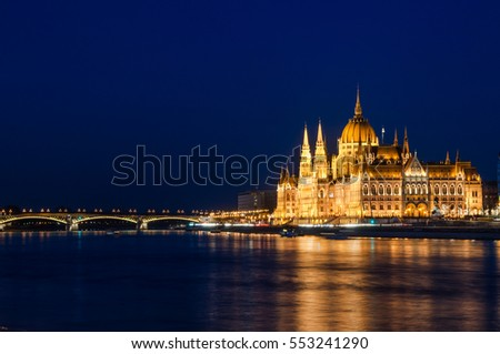 Budapest Parliament at Night. Side view with the Margaret Bridge