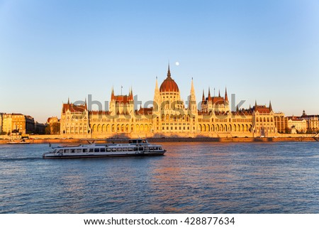 Budapest Parliament at sunset on 20 April 2016 in Hungary