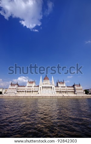 Budapest Parliament building, wide view from Danube river - stock photo