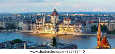 Budapest parliament in the sunset lights - stock photo