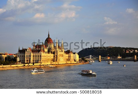 Budapest Parliament on Danube river, capital of Hungary