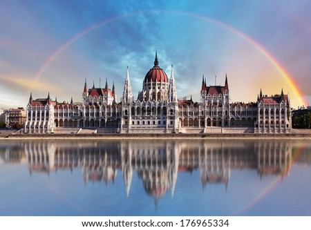 Budapest - Parliament.with reflection in Danube - stock photo
