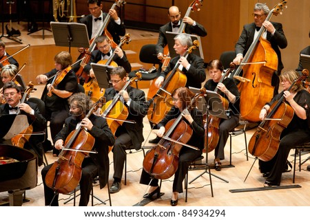 "BUDAPEST - SEPT 18: MR Symphonic Orchestra perform on concert at  ""Palace of Art"" Budapest Sept 18, 2011 in Budapest, Hungary - stock photo"
