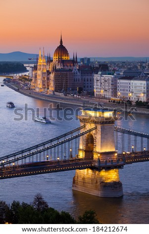 Budapest sunset cityscape with Chain Bridge - stock photo