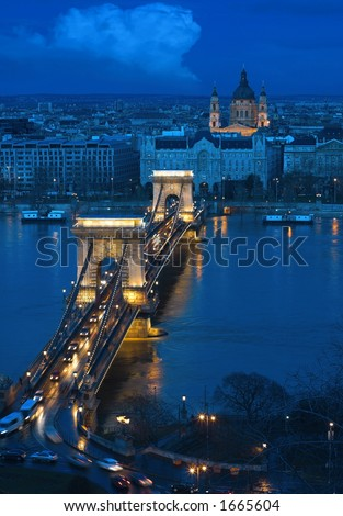 Budapest, the capital of Hungary is one of the nicest cities. It lies on both sides of the river Danube. The old Chain Bridge is one of the most remarkable landmarks of the city. - stock photo