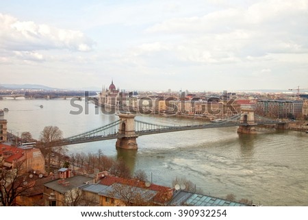 Budapest with chain bridge and parliament,Hungary
