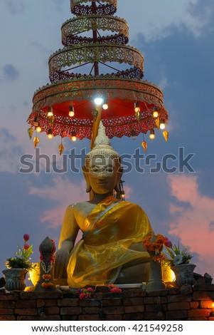 """Buddha,Buddha statue of Thailand """"kwan phayao"""" of Phayao lake of fresh water. Thailand. May 14, 2016. - stock photo"""