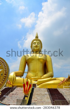 Buddha color big background temple Thailand statue Asia face isolated Buddhism Asian Ayutthaya - stock photo