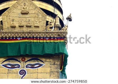 Buddha eyes in Nepal, Bhothinath - stock photo