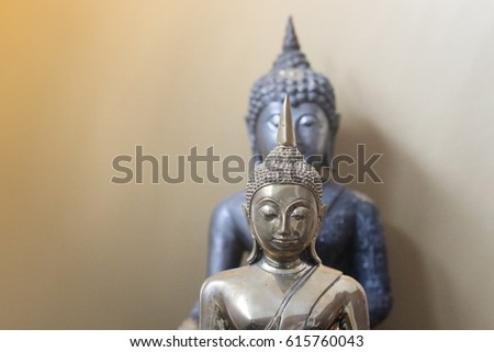 Buddha face in the room with light effect