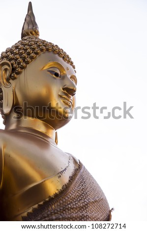 Buddha gold in thailand temple. - stock photo