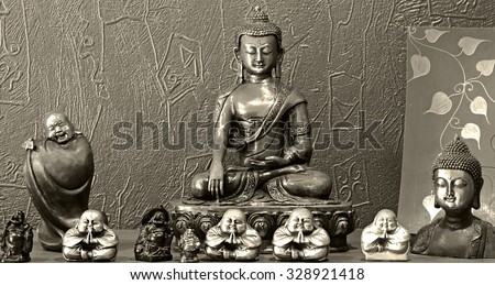 Buddha  grunge, Black and white - stock photo
