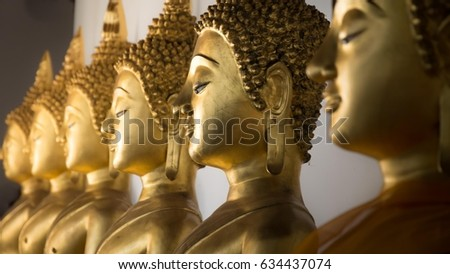 Buddha head form Wat Phra Si Rattana Mahathat (Public places) ,Close up and select focus