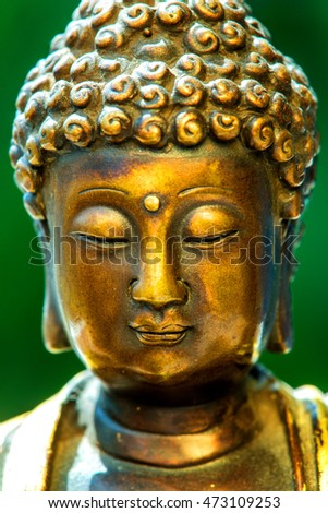 Buddha head with green blurred background