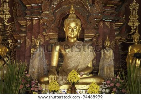 Buddha image at Chiangmun Temple - stock photo