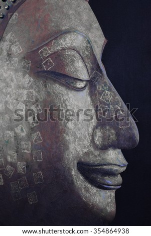 Buddha image face in close-up style