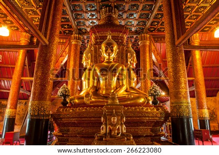 Buddha Image of Wat Phu Mintr, Nan province, Thailand : In Thailand Buddha image are public domain, no artist name or any copy right appear on the image - stock photo