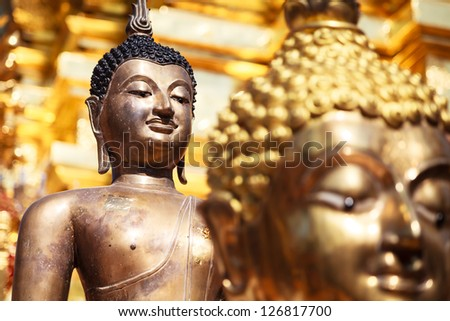 Buddha images , Close up face of gold buddha, Thailand ,Asia - stock photo