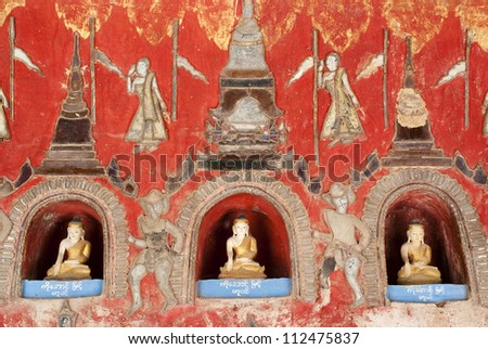 Buddha images in niches at Shwe Yan Phe Pagoda