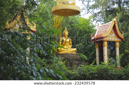 Buddha in Buddhist temple, Thailand, Koh Samui - stock photo