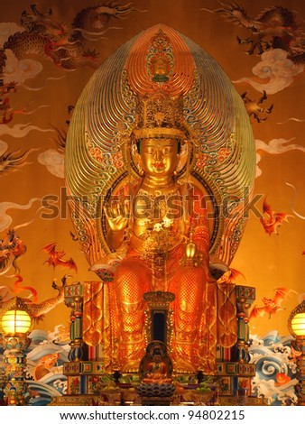 buddha in chinese temple shown a spiritual of buddhist.