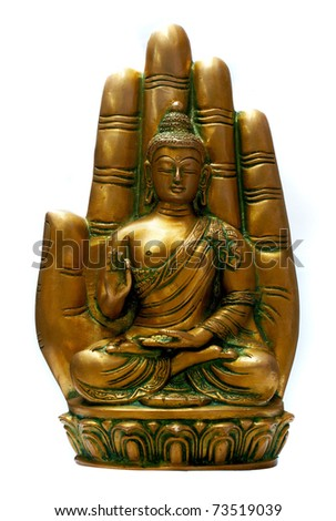 Buddha in meditation isolated over a white background - stock photo