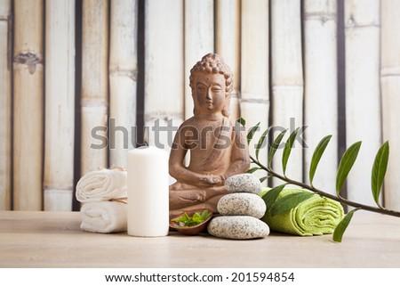 Buddha in meditation, spa concept  - stock photo