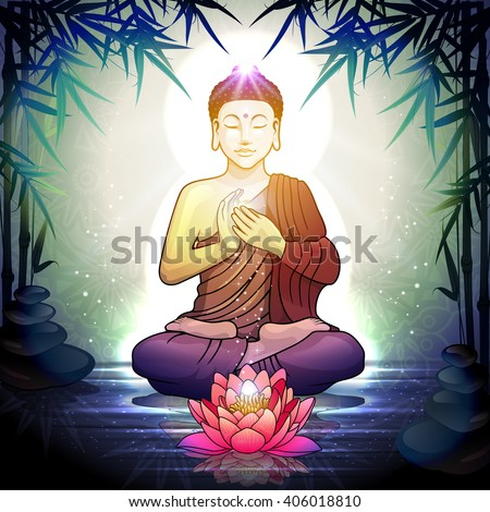Buddha in Meditation With Lotus Flower in Tranquil Zen Garden - stock photo