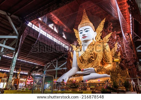 Buddha in Ngahtatkyi Pagoda Temple in Yangon, Myanmar (Burma) They are public domain or treasure of Buddhism, no restrict in copy or use  - stock photo