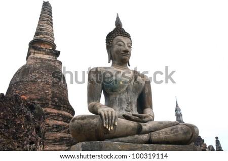 buddha in temple , su-kho-thai Historical park, Thailand - stock photo