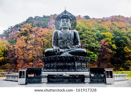 Buddha in the Sinheungsa Temple at Seoraksan National Park, South Korea - stock photo