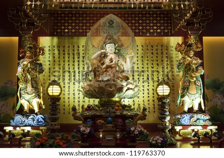 Buddha in Tooth Relic Temple in China Town, Singapore - stock photo