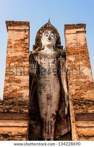 Buddha in Wat Mahathat, Sukhothai, Thailand - stock photo