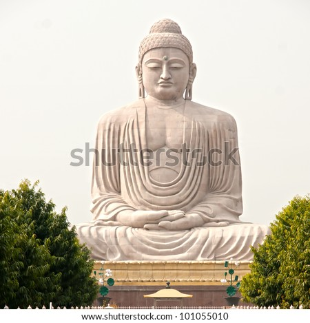 Buddha inside a Nepalese Temple in Bodhgaya, Bihar, India. - stock photo