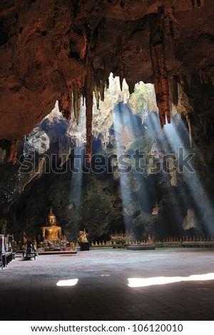 Buddha, located in Cave, Khao Luang Cave Phetchaburi, Thailand. - stock photo