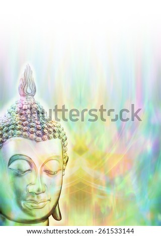 Buddha Mindfulness Meditation -  Buddha head on left side with plenty of copy space to the right and above on a multicolored graduated background  - stock photo
