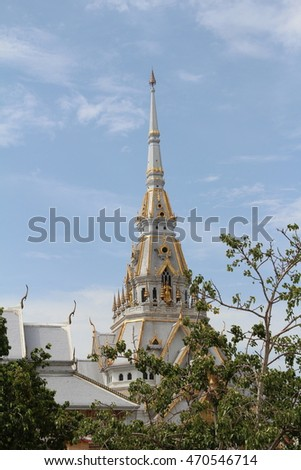 Buddha pagoda with blue sky background