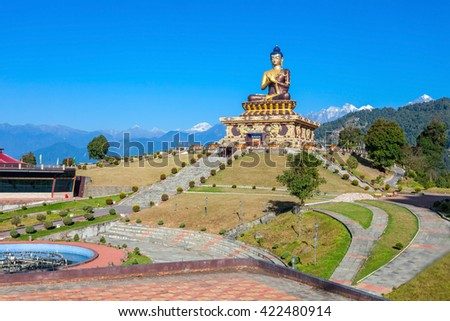 Buddha Park is a buddhist complex situated in Ravangla in South Sikkim, India - stock photo