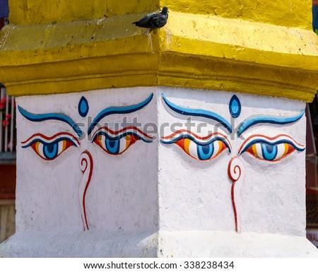 Buddha's eyes at Boudhanath stupa in Kathmandu, Nepal - stock photo
