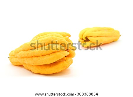 Buddha's hand or fingered citron fruit isolate on white  - stock photo
