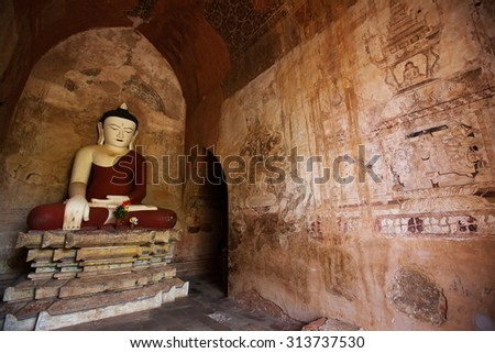 Buddha's statue in a Bagan pagoda, Mayanmar - stock photo