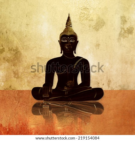 Buddha silhouette against grunge background wall - stock photo