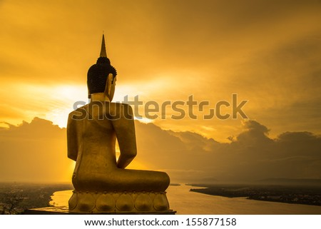 buddha silhouette setting  - stock photo