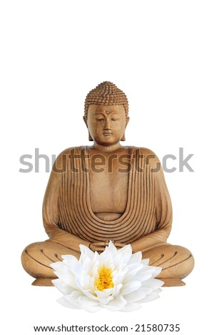 Buddha smiling with eyes closed in prayer and a lotus lily flower, over white background. - stock photo