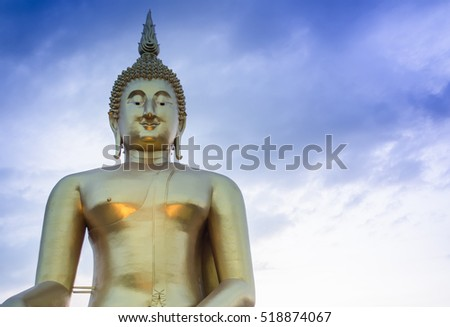 Buddha statue and blue sky,landscape